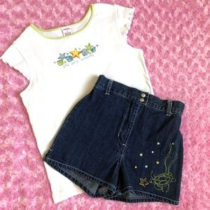 Gymboree Top Denim Shorts Splash Girls 9 Turtle